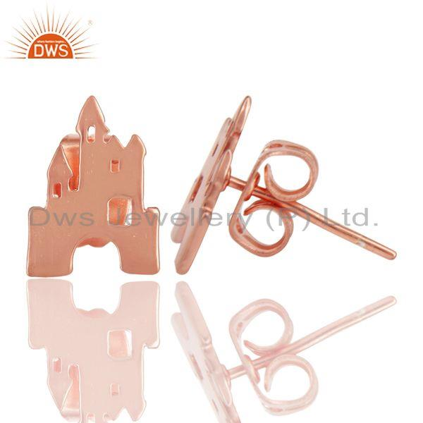 Suppliers 14K Rose Gold Plated 925 Sterling Silver Handmade Art Deco Design Studs Earrings