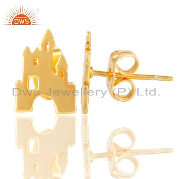 Suppliers 14K Gold Plated 925 Sterling Silver Handmade Art Deco Design Studs Earrings