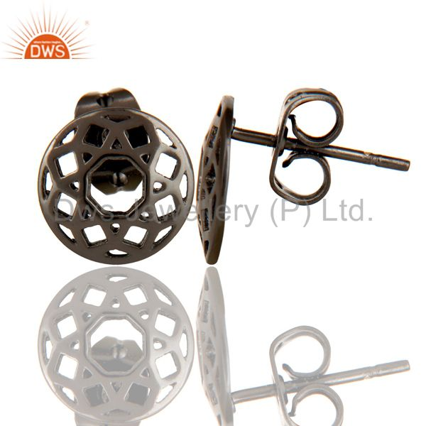 Suppliers Black Oxidized 925 Sterling Silver Handmade Art Round Design Studs Earrings