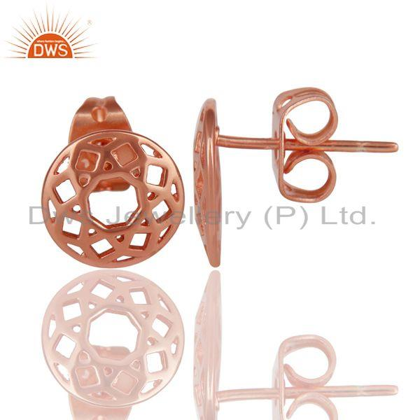 Suppliers 14K Rose Gold Plated 925 Sterling Silver Handmade Art Round Design Stud Earrings