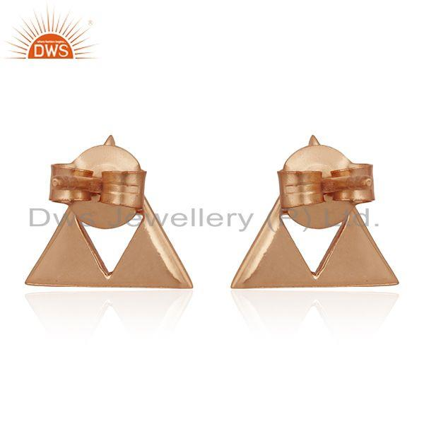 Suppliers 14K Rose Gold Plated Sterling Silver Handmade Trillion Cut Style Studs Earrings