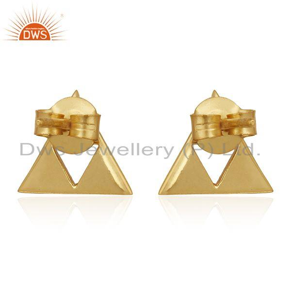 Suppliers 14K Gold Plated Sterling Silver Handmade Art Trillion Cut Style Studs Earrings