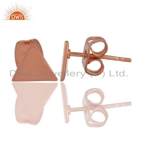 Suppliers 14K Rose Gold Plated Sterling Silver Handmade Art Trillion Design Studs Earrings