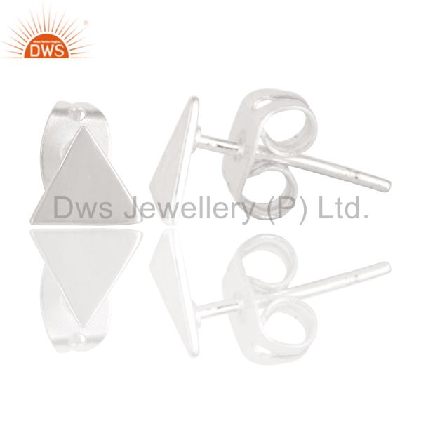 Suppliers Handmade Solid 925 Sterling Silver Art Trillion Design Studs Earrings