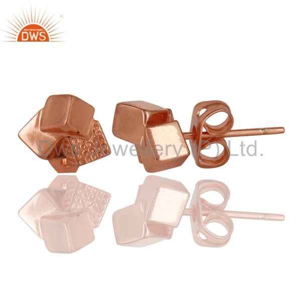 Suppliers 14K Rose Gold Plated Sterling Silver Handmade Art Little Studs Fashion Earrings