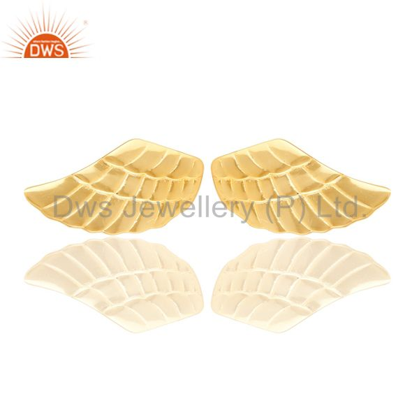 Suppliers 14K Yellow Gold Plated Sterling Silver Handmade Textured Design Studs Earrings