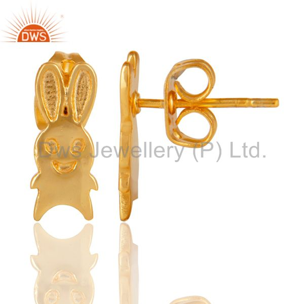 Suppliers 14K Yellow Gold Plated Sterling Silver Handmade Art Rabbit Design Studs Earrings
