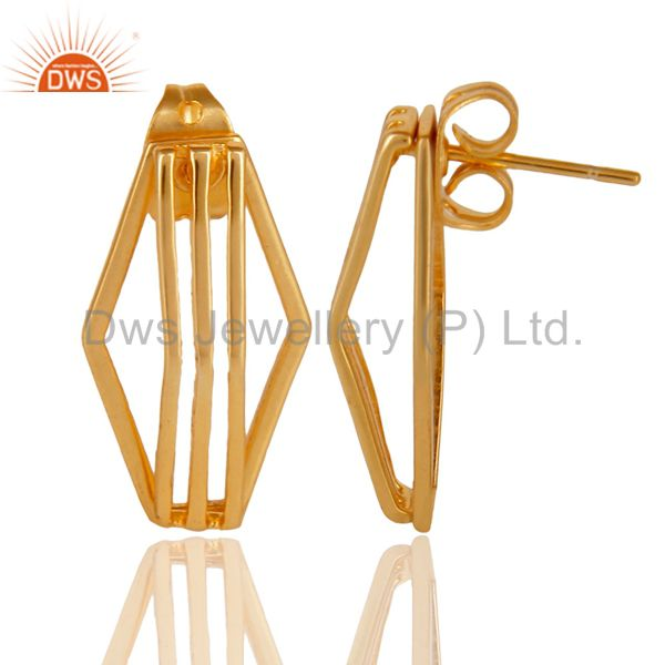 Suppliers 14K Yellow Gold Plated 925 Sterling Silver Handmade Flat Style Studs Earrings