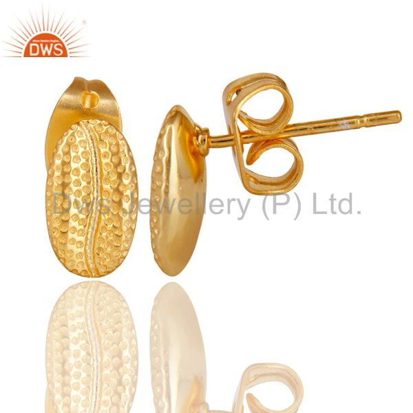 Suppliers 14K Yellow Gold Plated 925 Sterling Silver Handmade Rough Design Studs Earrings