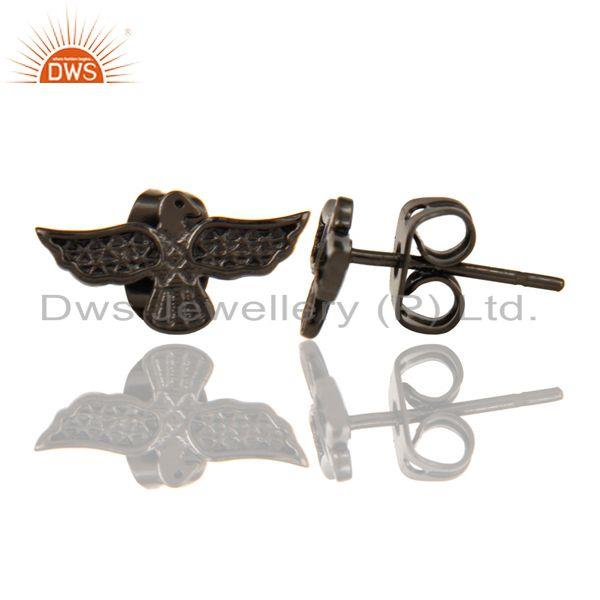Suppliers Black Oxidized 925 Sterling Silver Handmade Birds Little Design Studs Earrings