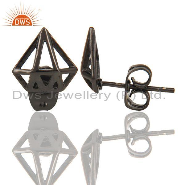 Suppliers Black Oxidized 925 Sterling Silver Handmade Art Classic Design Studs Earrings
