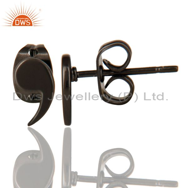 Suppliers Black Oxidized 925 Sterling Silver Handmade Little Fashion Design Studs Earrings