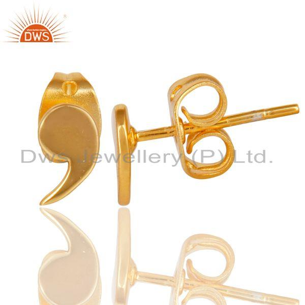 Suppliers 18K Gold Plated Sterling Silver Handmade Little Fashion Design Studs Earrings