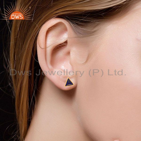 Suppliers 14K Gold Plated 925 Sterling Silver Handmade Lapis Pyramid Style Studs Earrings