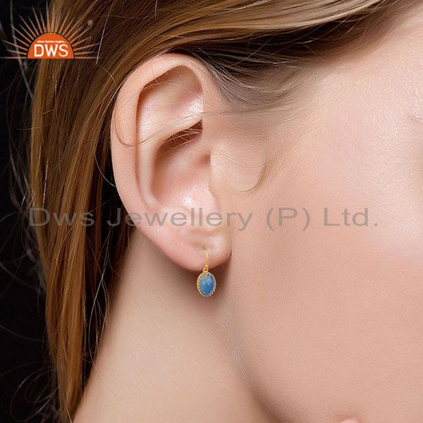 Suppliers 14K Yellow Gold Plated 925 Sterling Silver Dyed Blue Chalcedony Drops Earrings