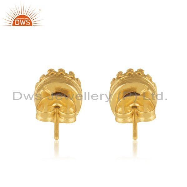 Suppliers Crown Design Brass Gold Plated Pearl Fashion Stud Earrings Wholesaler Jaipur