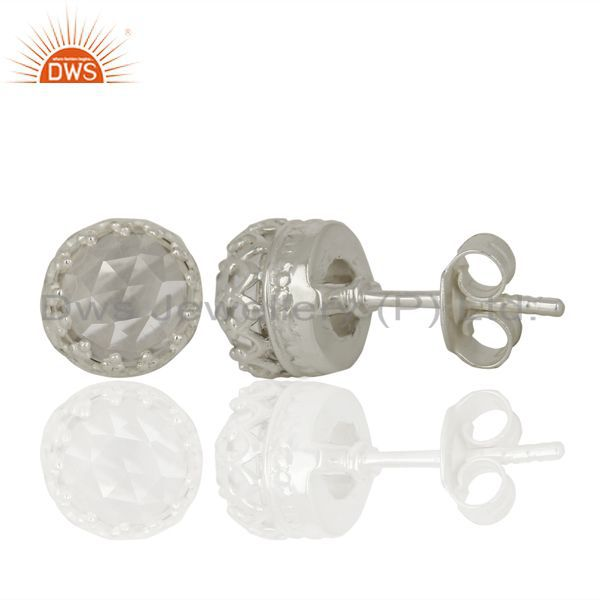 Suppliers Crystal Quartz Studs 925 Sterling Silver Mini Earrings Gemstone Jewelry