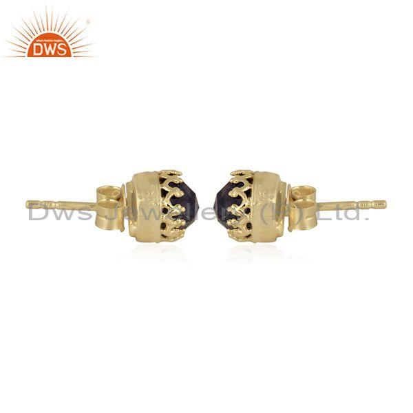 Round cut iolite set gold on 925 sterling silver earrings