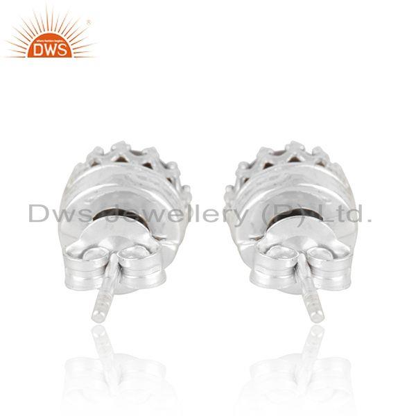 Suppliers Crown Design Fine 925 Silver Gray Pearl Stud Earring Manufacturer