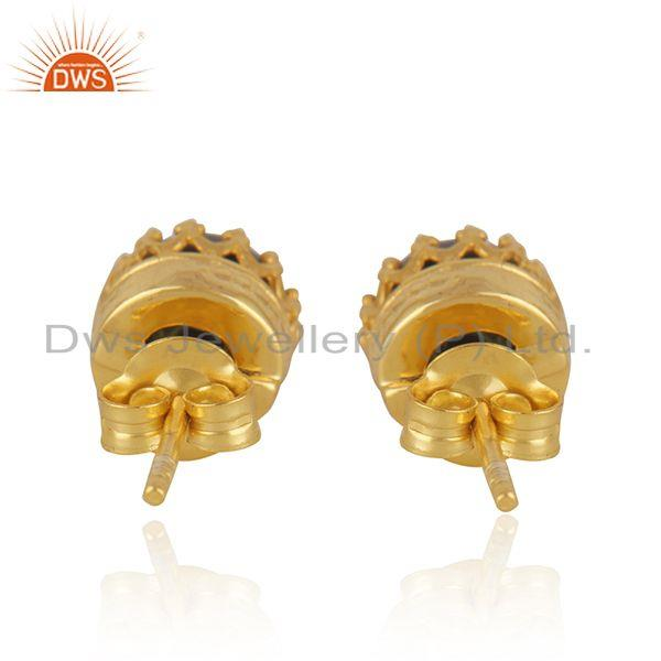 Suppliers Gray Pearl Gemstone Crown Design Gold Plated 925 Silver Stud Earring Wholesale