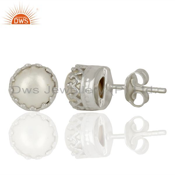 Suppliers Pearl Studs 925 Sterling Silver Prong Set Earrings Gemstone Jewelry