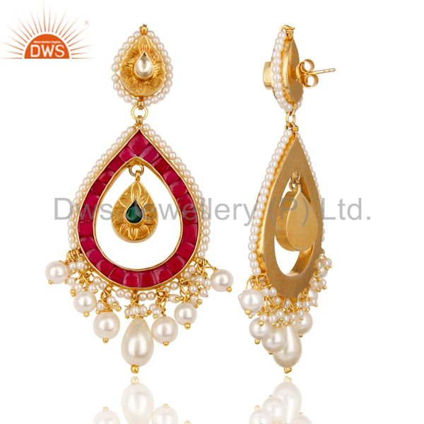 Suppliers 18K Yellow Gold Plated 925 Sterling Silver Handmade Pearl Beads Dangle Earrings