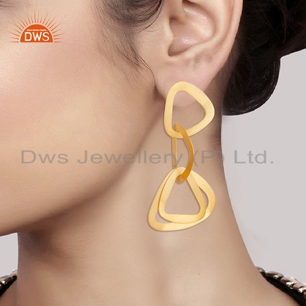 Suppliers 14K Yellow Gold Plated 925 Sterling Silver Handmade Fashionable Dangle Earrings