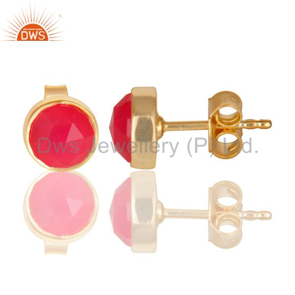Suppliers 14K Yellow Gold Plated 925 Sterling Silver Dyed Pink Chalcedony Studs Earrings