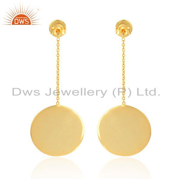 Designer of Round disc design gold plated plain silver chain drop earrings