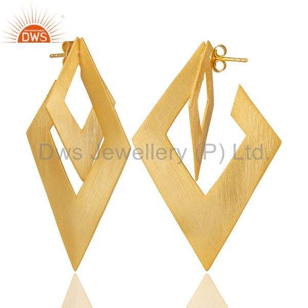 Suppliers 14K Yellow Gold Plated 925 Sterling Silver Handmade Art Design Dangle Earrings