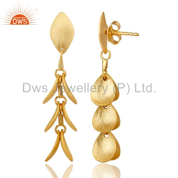 Suppliers 14K Yellow Gold Plated 925 Sterling Silver Handmade Leaf Design Dangle Earrings