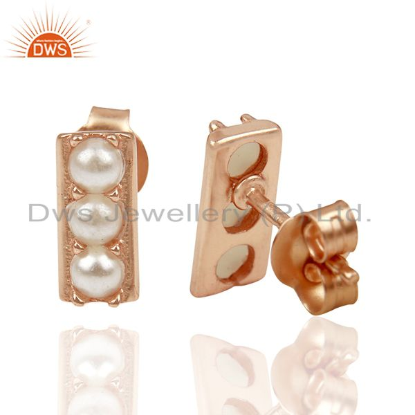 Suppliers Pearl studded Handmade Rose Gold Plated Tiny Stud Wholesale Jewelry
