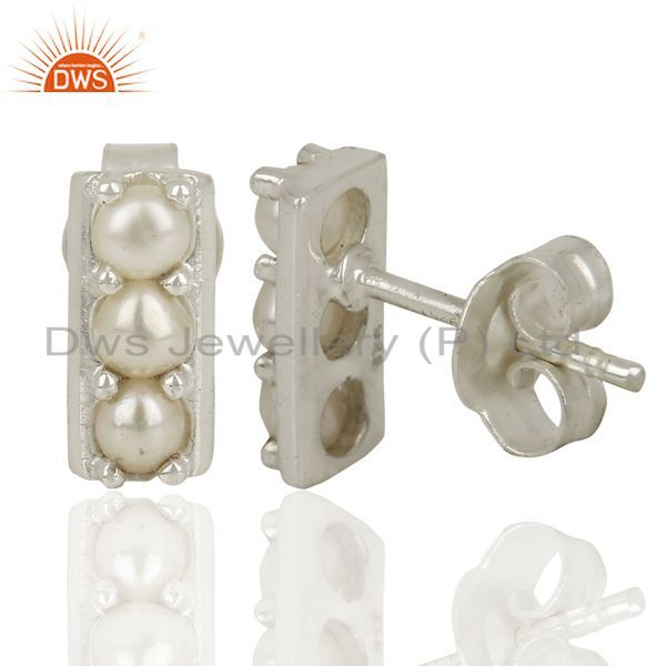 Suppliers Pearl Studs 925 Sterling Silver Prong Set Mini Earrings Jewelry