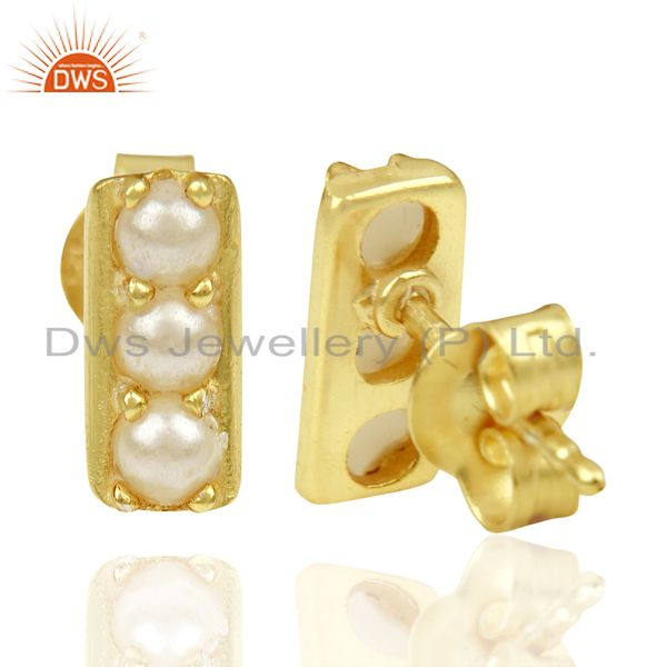 Suppliers Pearl studded Handmade 14 K Gold Plated Tiny Stud Wholesale Jewelry