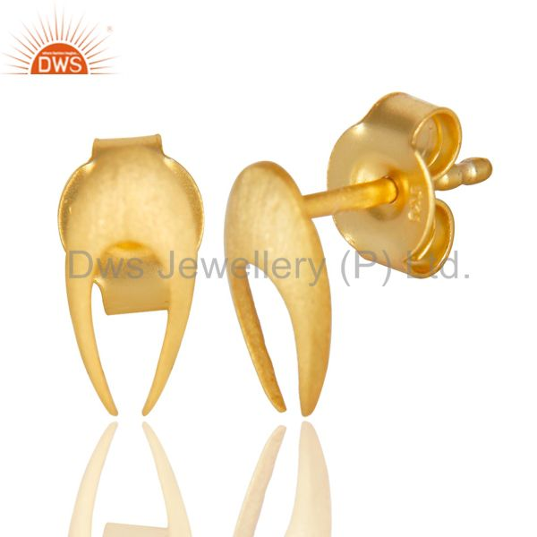 Suppliers 14K Gold Plated 925 Sterling Silver Handmade Horse Shoe Design Studs Earrings