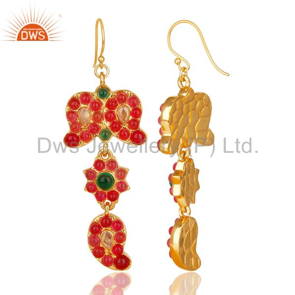 Suppliers 18K Gold Plated 925 Sterling Silver Handmade Multi Color Stone Dangle Earrings