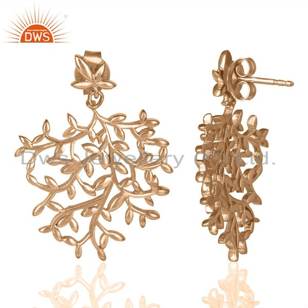 Suppliers Olive Leaf Drop Rose Gold Plated 92.5 Sterling Silver Earring