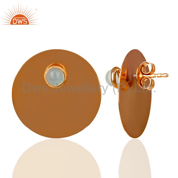 Suppliers 14K Rose Gold Plated 925 Silver Round Design Aqua Chalcedony Studs Earrings
