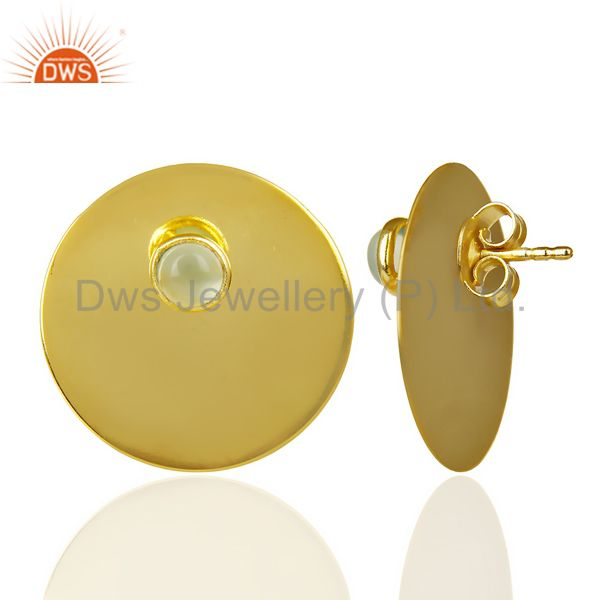 Suppliers 14K Gold Plated 925 Sterling Silver Round Design Aqua Chalcedony Studs Earrings