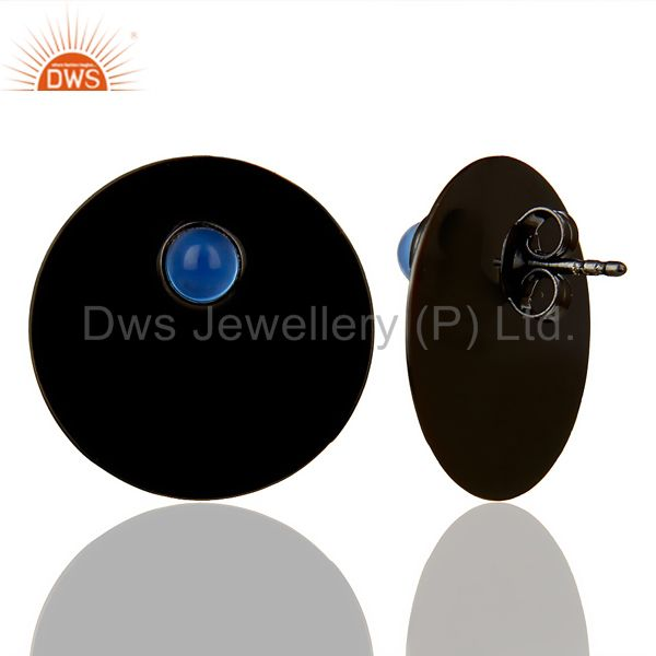 Suppliers Black Oxidized 925 Silver Round Design Dyed Blue Chalcedony Studs Earrings