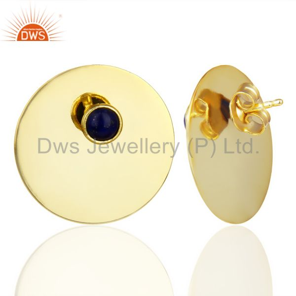 Suppliers 14K Gold Plated 925 Silver Round Design Lapis Lazuli Studs Earrings