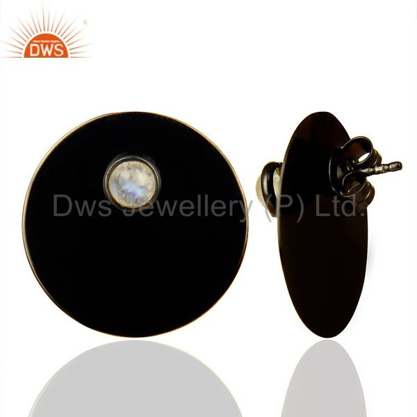 Suppliers Black Oxidized 925 Silver Round Design Rainbow Moonstone Studs Earrings