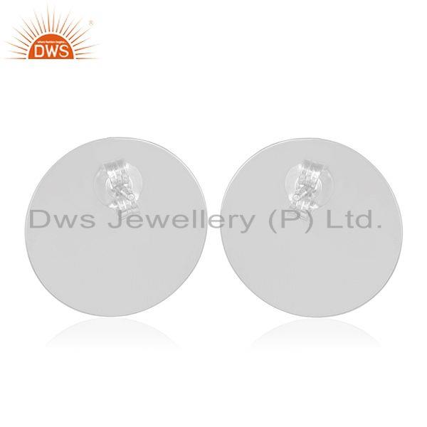 Suppliers White Rhodium Plated 925 Silver Moonstone Round Stud Earrings Manufacturers