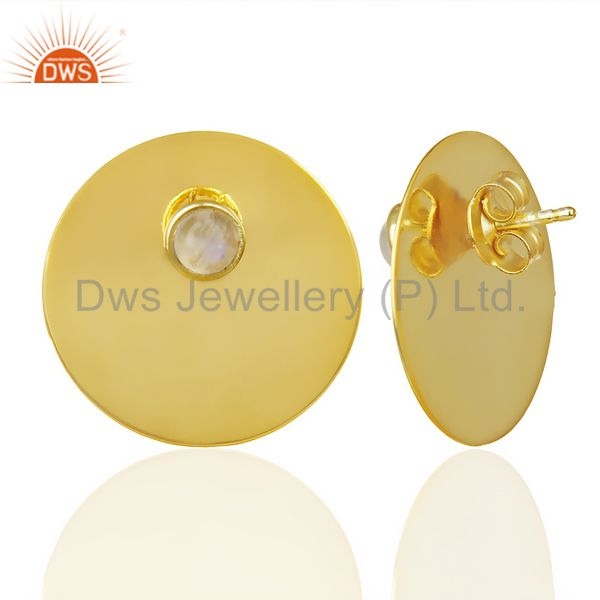 Suppliers 14K Gold Plated 925 Silver Round Design Rainbow Moonstone Studs Earrings