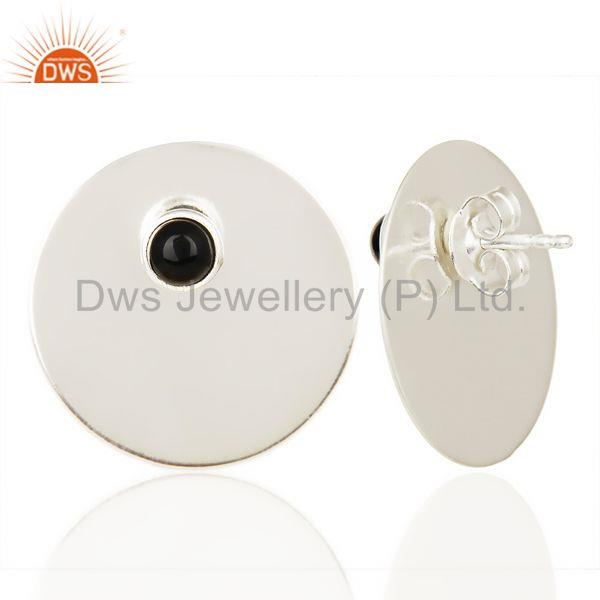 Suppliers Traditional Handmade 925 Silver Round Design Black Onyx Studs Earrings
