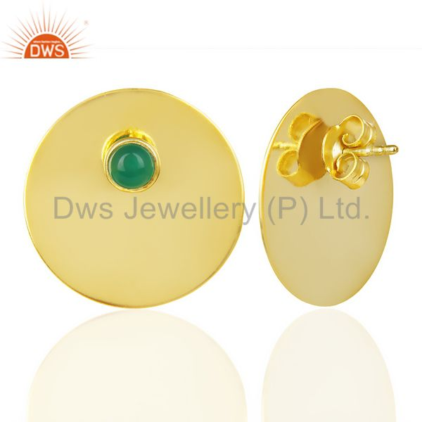 Suppliers 14K Gold Plated 925 Sterling Silver Round Design Green Onyx Studs Earrings