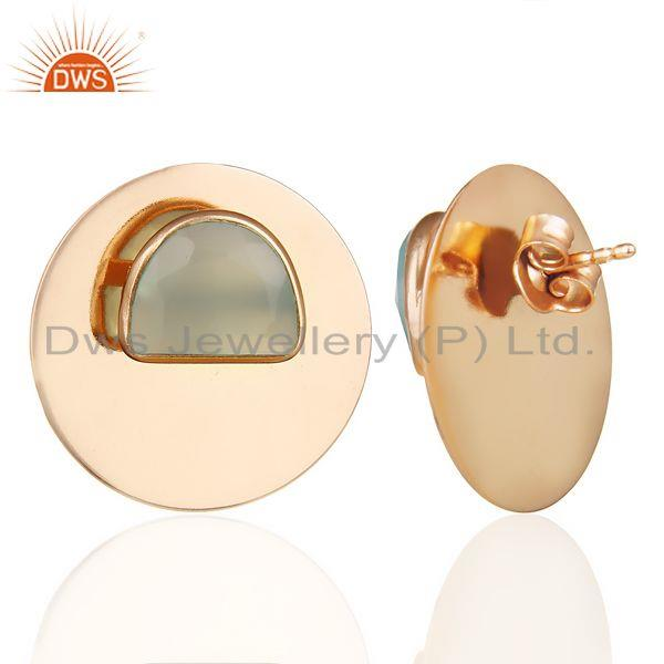 Suppliers 14K Rose Gold Plated 925 Silver Round Design Dyed Aqua Chalcedony Stud Earrings