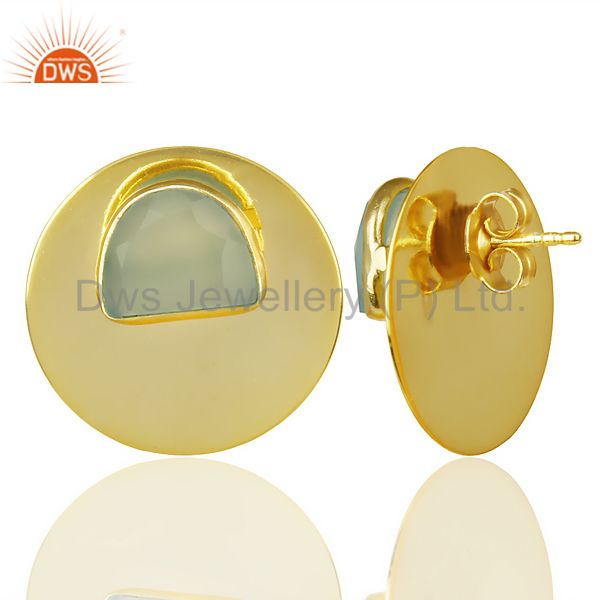 Suppliers 14K Gold Plated 925 Silver Round Design Dyed Aqua Chalcedony Studs Earrings