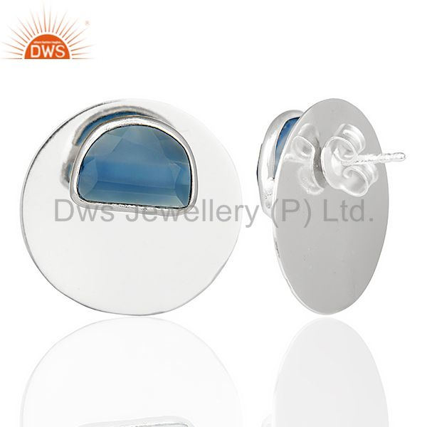 Suppliers Blue Chalcedony Gemstone Stud Solid 925 Sterling Silver Earrings Jewelry