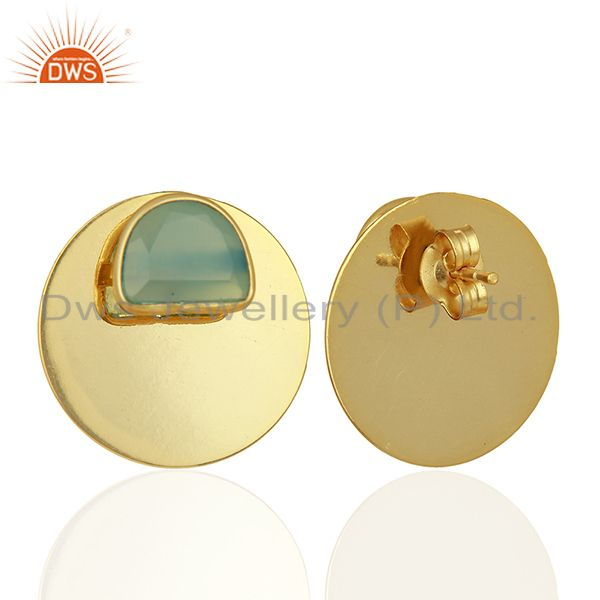 Suppliers Gold Plated 925 Sterling Silver Blue Chalcedony Gemstone Stud Earrings